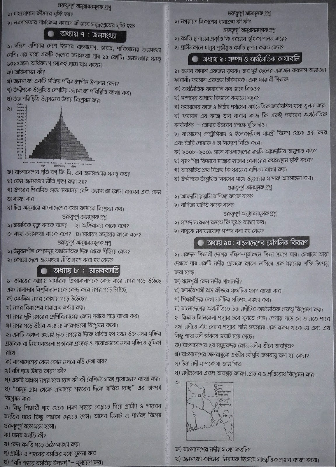 ssc Geography and Environment suggestion, question paper, model question, mcq question, question pattern, syllabus for dhaka board, all boards