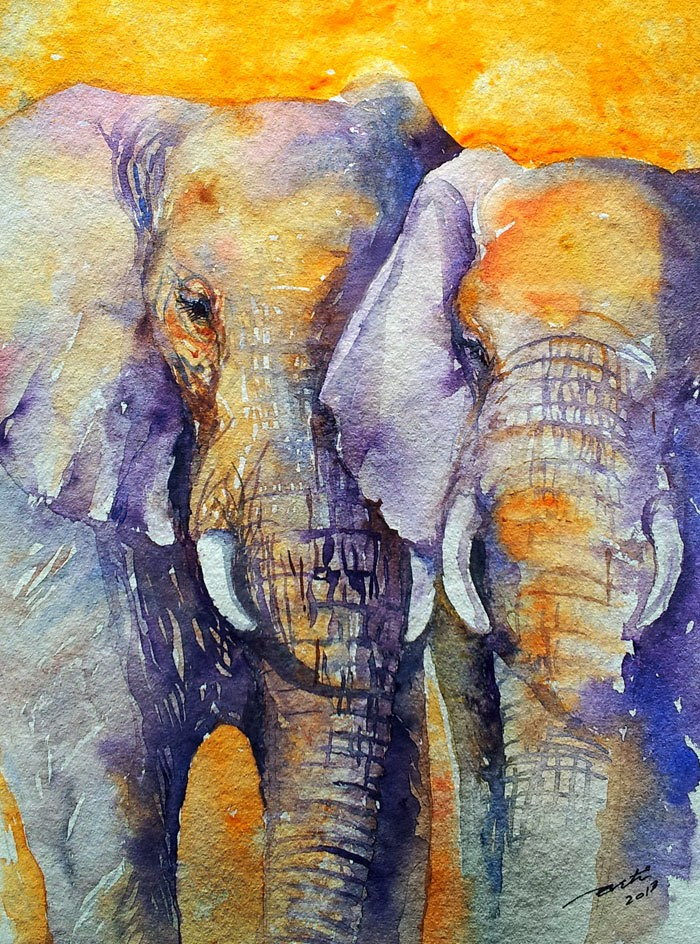 Arti S Art Life As I See It Amber Skies Elephant Painting