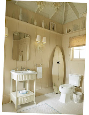 Pic of Beach House Bathrooms Casual Cottage With White Floor Good Idea