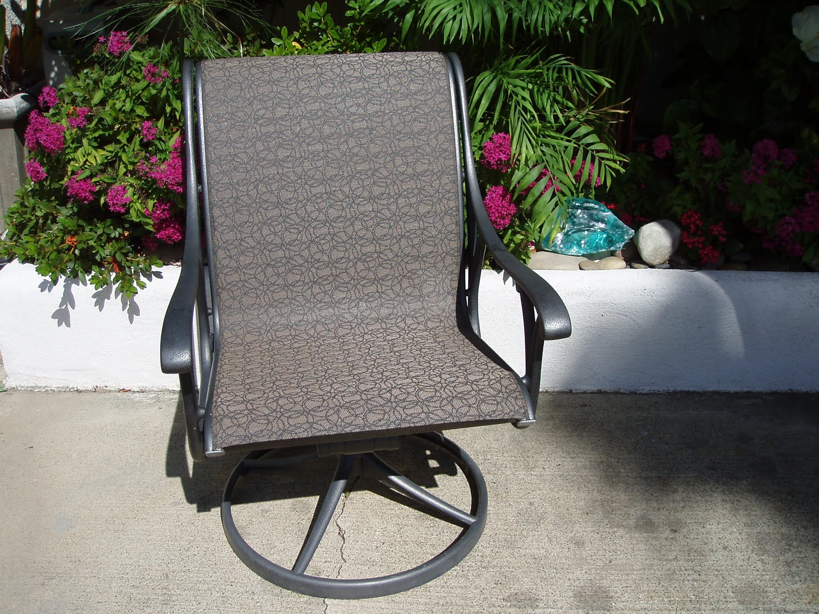 vinyl mesh fabric for sling chairs reclining outdoor chair cushions 949 830 2600 orange county patio furniture repair