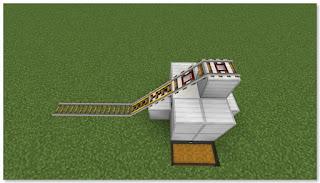 Minecraft 高速トロッコ輸送 アイテム荷降ろし駅 作り方⑥