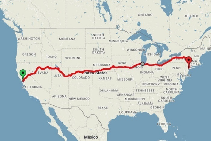 This is Low's route across America, stretched out over 15 days. If he did the trip with no stops, it would take about 4 days. - This Guy Saw The US For Under $500, His Photos Will Make You Rethink Your Vacation Plans.
