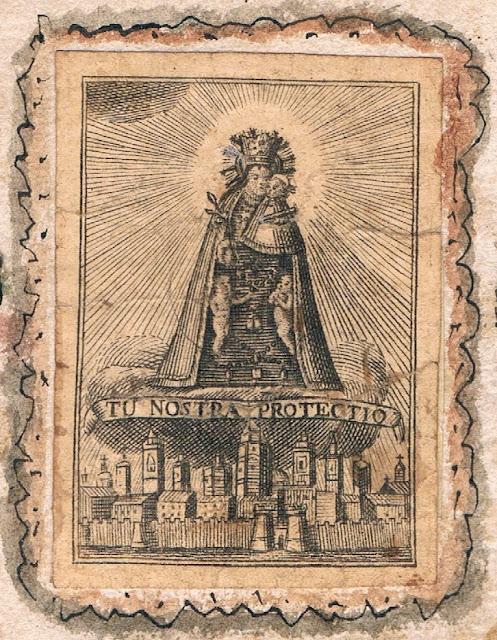 Grabado de la Virgen de los Desamparados.