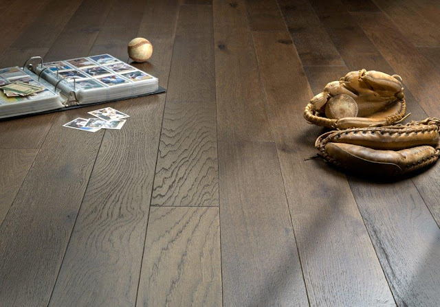 Dark hardwood floor adds a rustic feel to a room