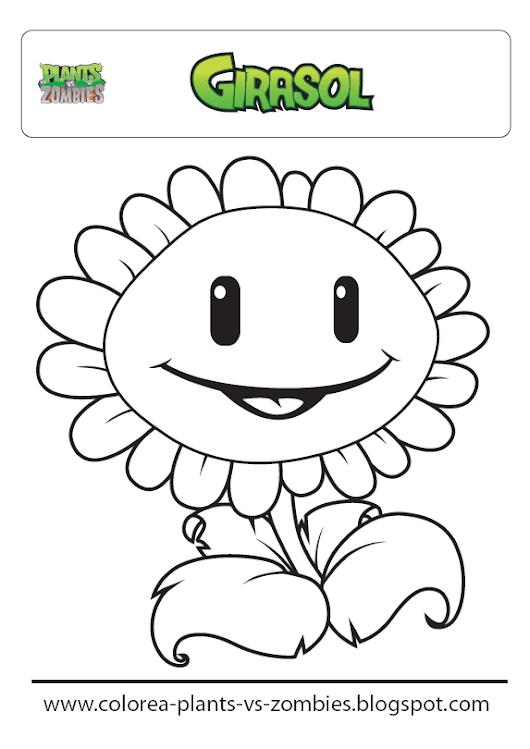 Plants vs Zombies: Giralsol (para colorear) Dibujo de Girasol de ...
