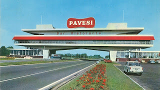 Pavesi's Autogrill, straddling the motorway near Novara