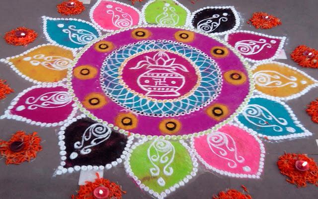 Easy Happy Holi Rangoli Colors