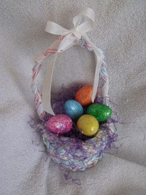 Easter baskets made with recycled drinking straws