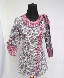 model baju batik kantor lengan panjang modern