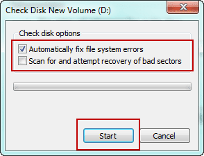 choose check disk options