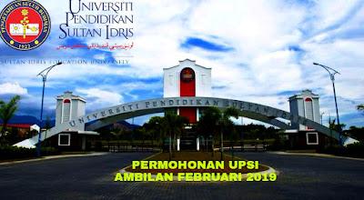 Permohonan UPSI Februari 2019 Online (Ijazah Sarjana Muda)