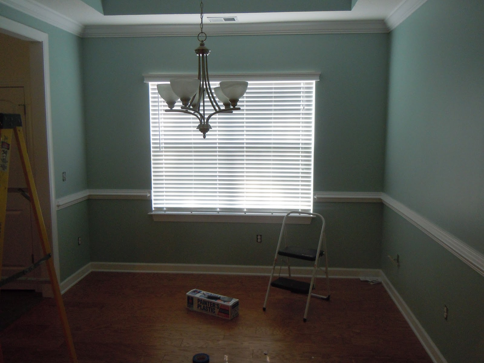 The Color Is Icy Teal By Glidden But We Used Behr Paint It A Very Soft Blue Green While Have That Large Window And Could