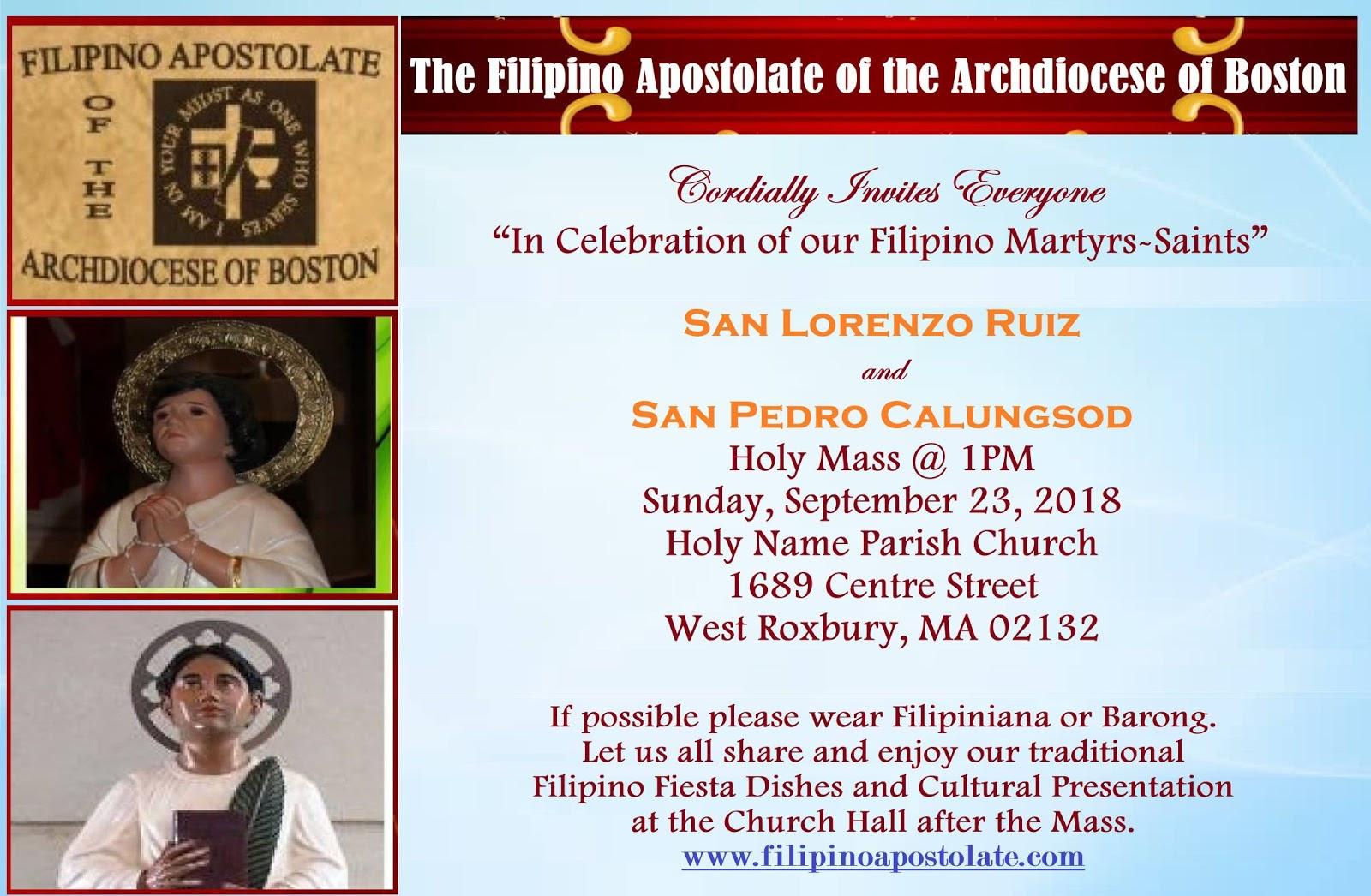 Filipino Apostolate: Feast of San Lorenzo and San Calungsod