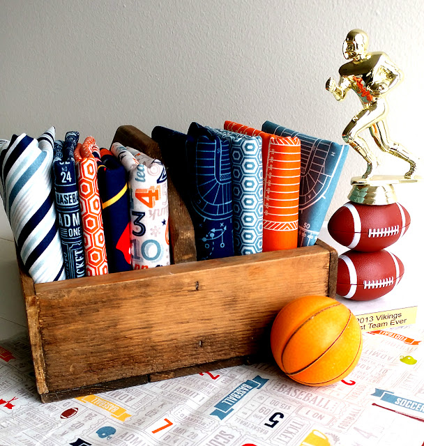 Game Day fabrics are perfect for sewing projects for boys and teens
