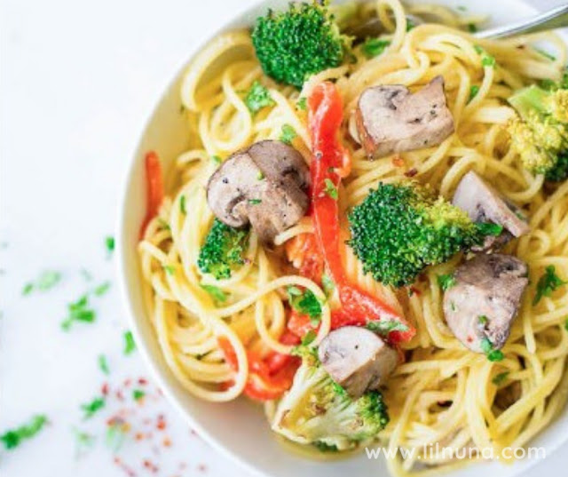 Cream Lemon Hummus Pasta With Fresh Vegetables