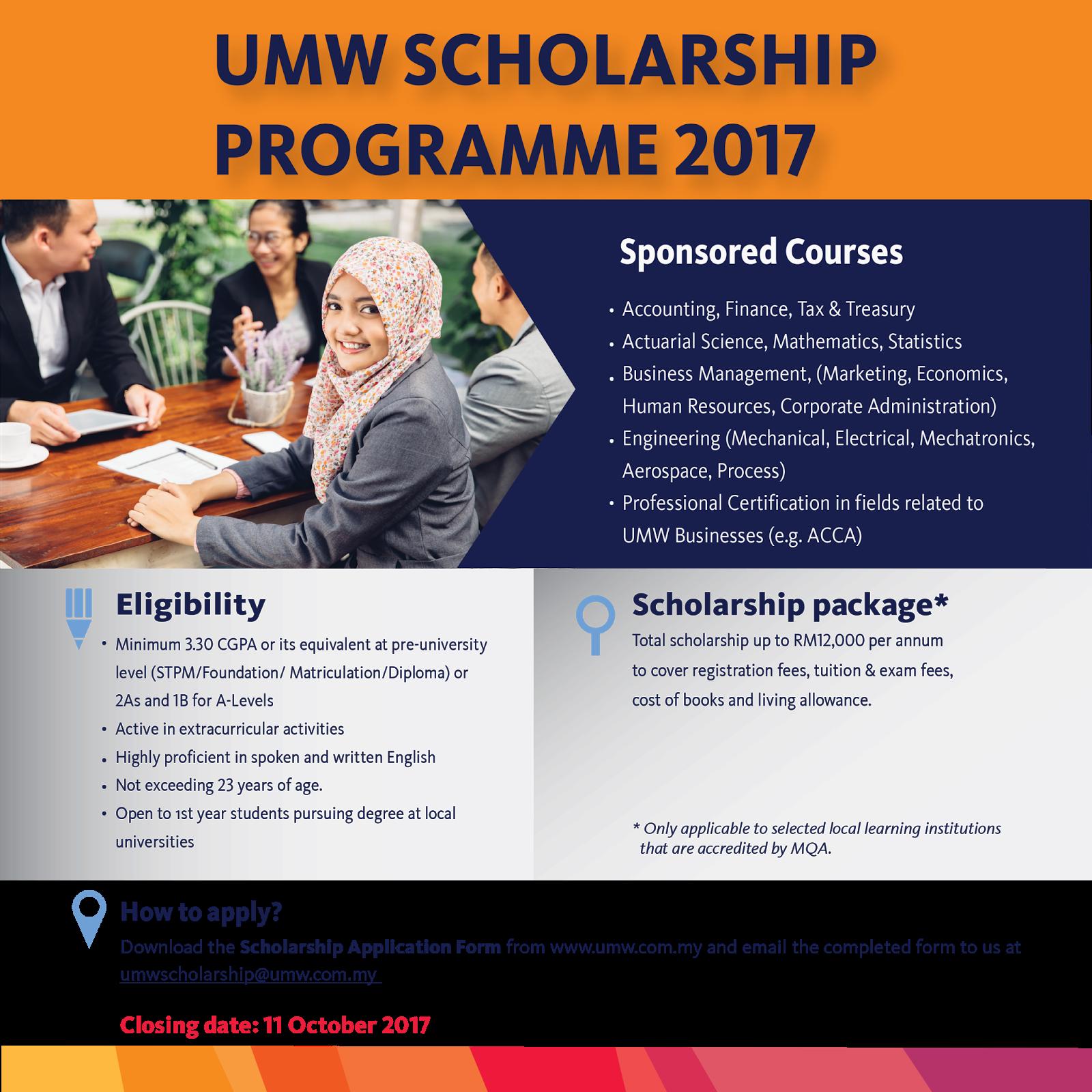 Biasiswa UMW Holdings Berhad untuk pelajar ijazah dalam negara