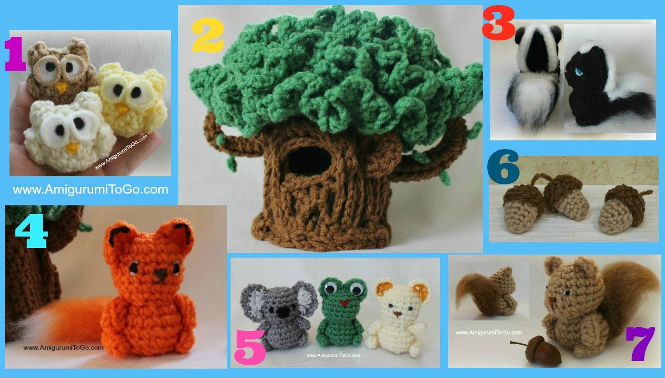 crochet amigurumi tree and small crochet animals