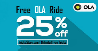 OLA Cab 25% discount on ride Ola Money Cashback Offer Tricksstore