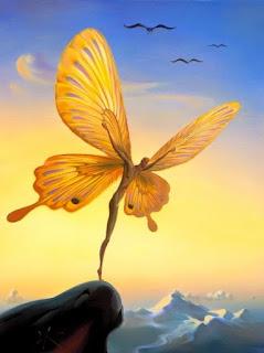 Άνθρωπος πεταλούδα στέκεται στην άκρη του γκρεμού. Ακολουθεί το κείμενο: Ο φόβος της απώλειας εξασθενεί κάθε ίχνος ανάμνησης Στον ύπνο μου, δυο πεταλούδες πεθαίνουν Ξυπνώ, φορώντας τα σπασμένα φτερά τους...  Σκέψεις που μοιάζουν με φθαρμένα χρώματα Ελπίδες που ξεθωριάζουν... Στο κενό γεννιέται η θλίψη  Κάθε βράδυ γεννιούνται Πετούν, χρωματίζοντας τα φτερά τους με αγάπη Το πρωί πεθαίνουν... Ξυπνώ... φορώντας τα σπασμένα φτερά τους…