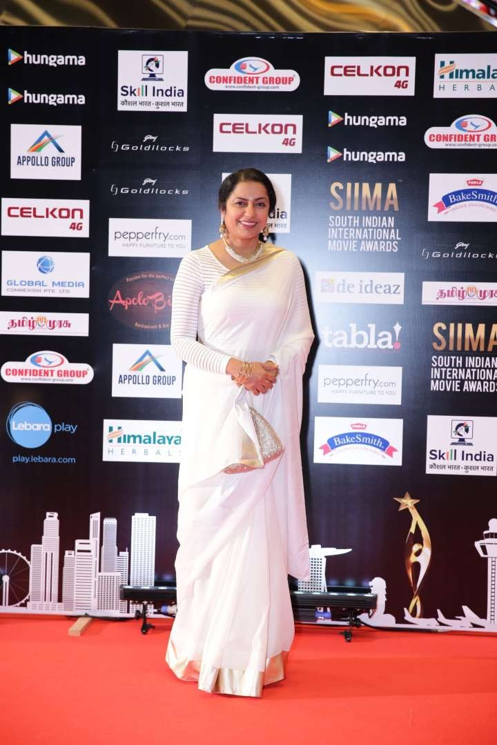 South Indian actress Suhasini Maniratnam is all smiles at SIIMA