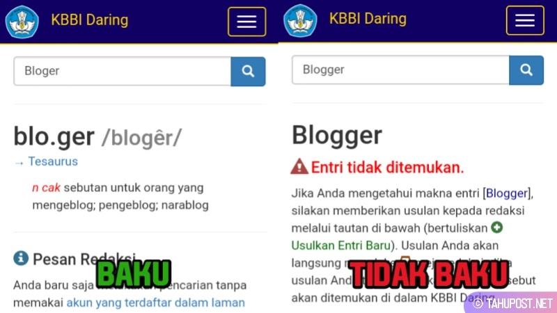 Kata Bloger Adalah yang Baku
