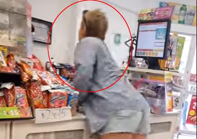 Estalla #LadyCacahuates... 'cachan' a su mamá robando en Oxxo (VIDEO)