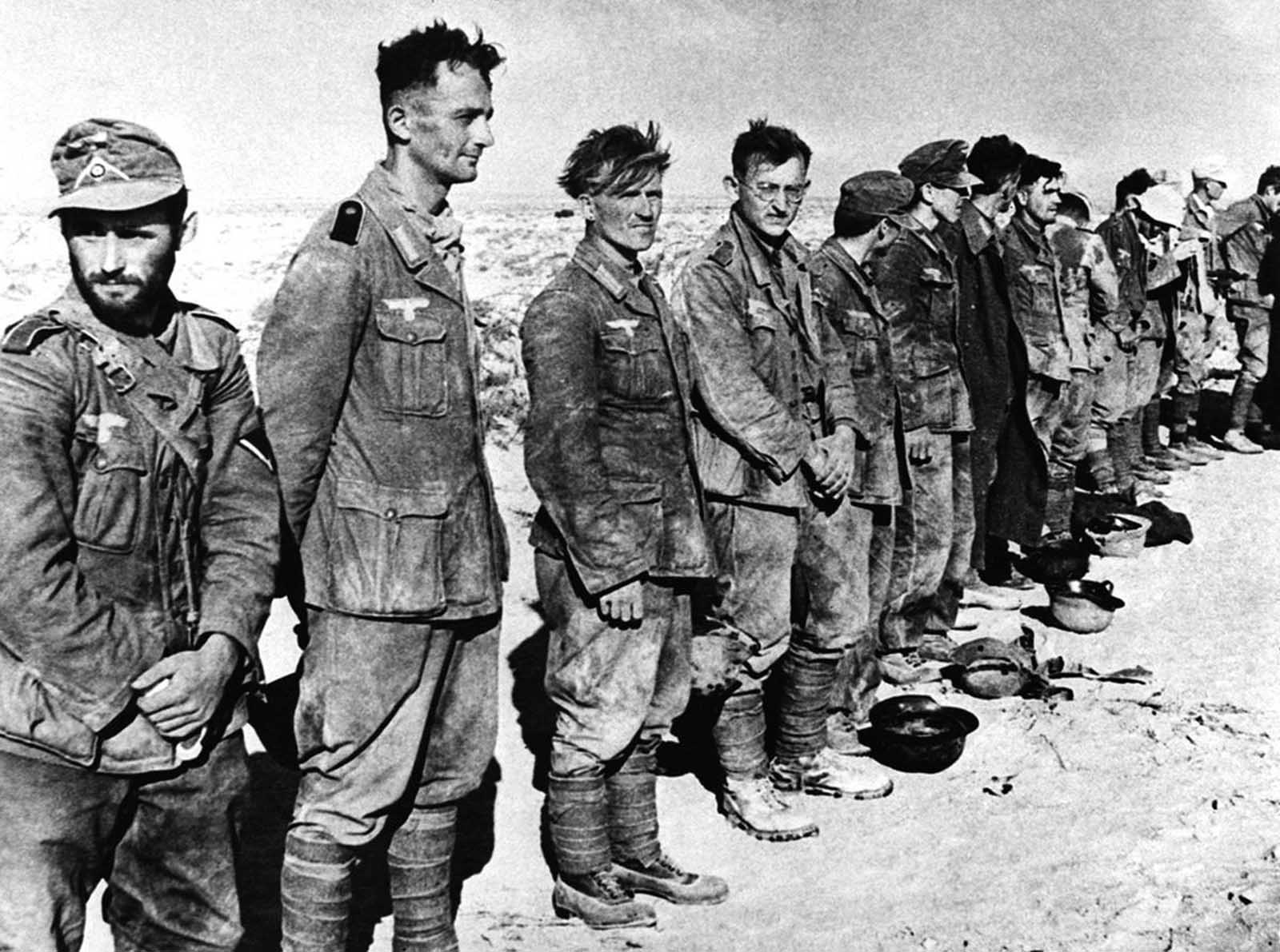 Some of the 97 German prisoners captured by the British forces in Egypt in a raid on Tel El Eisa, Egypt, on September 1, 1942.