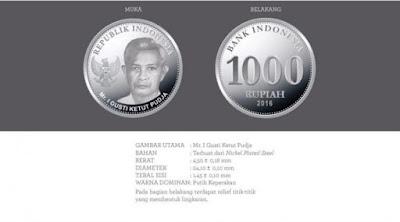 Uang rupiah baru pecahan Rp 1.000 logam