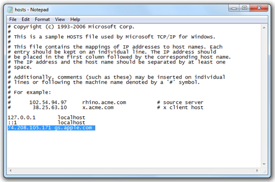 For Windows. Modify host file to fix iTunes error 17