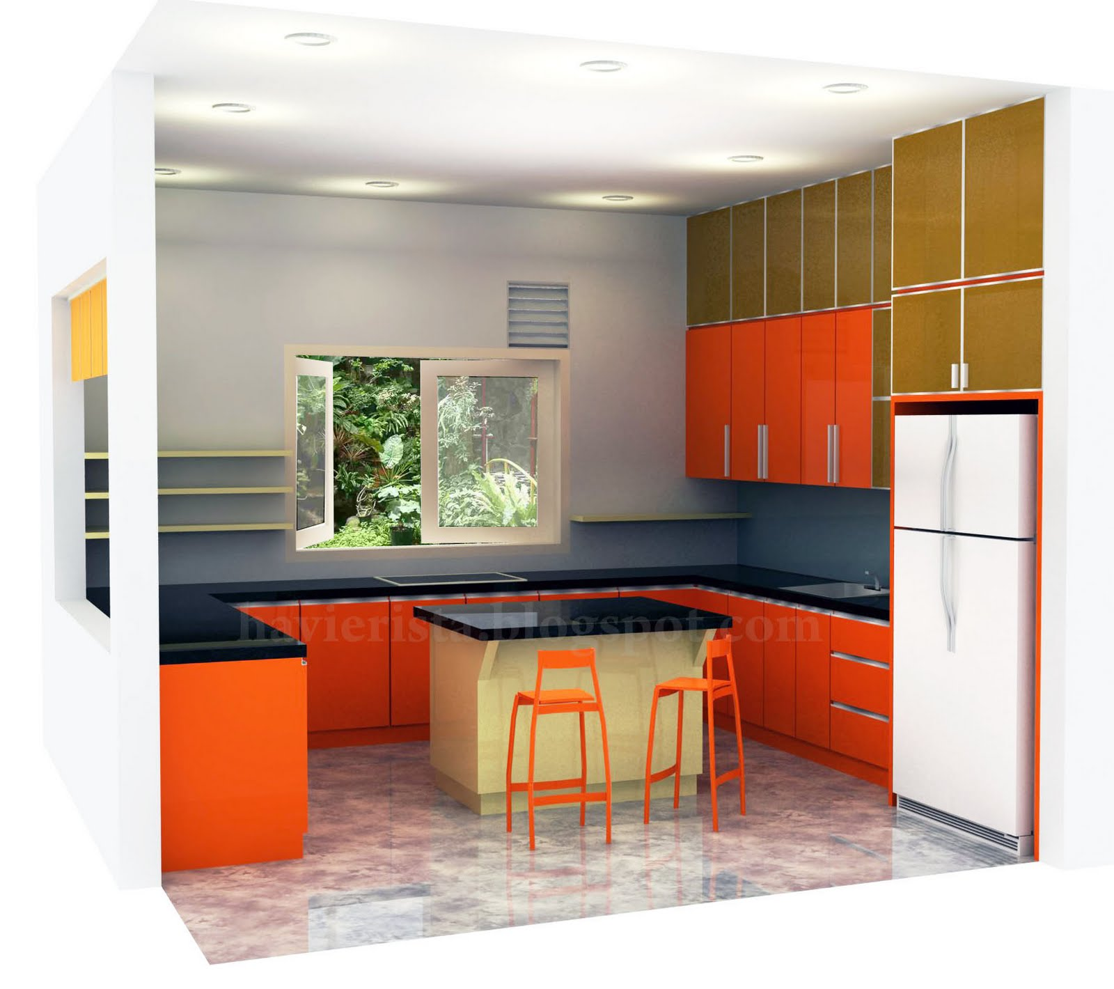 BLUE STRIPES: Cheerful Kitchen With Orange