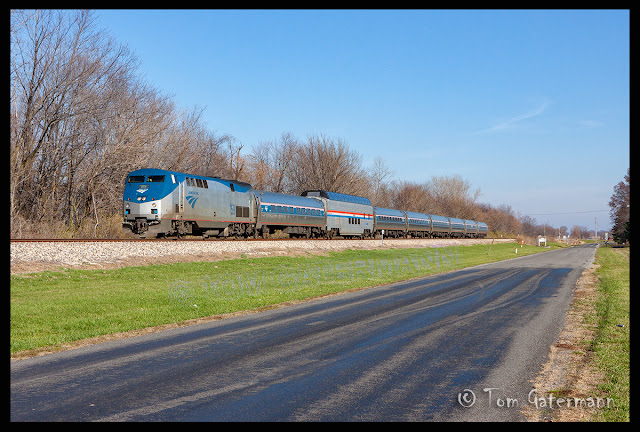 AMTK 159 leads a Lincoln Serice train south at Brighton, Illinois.