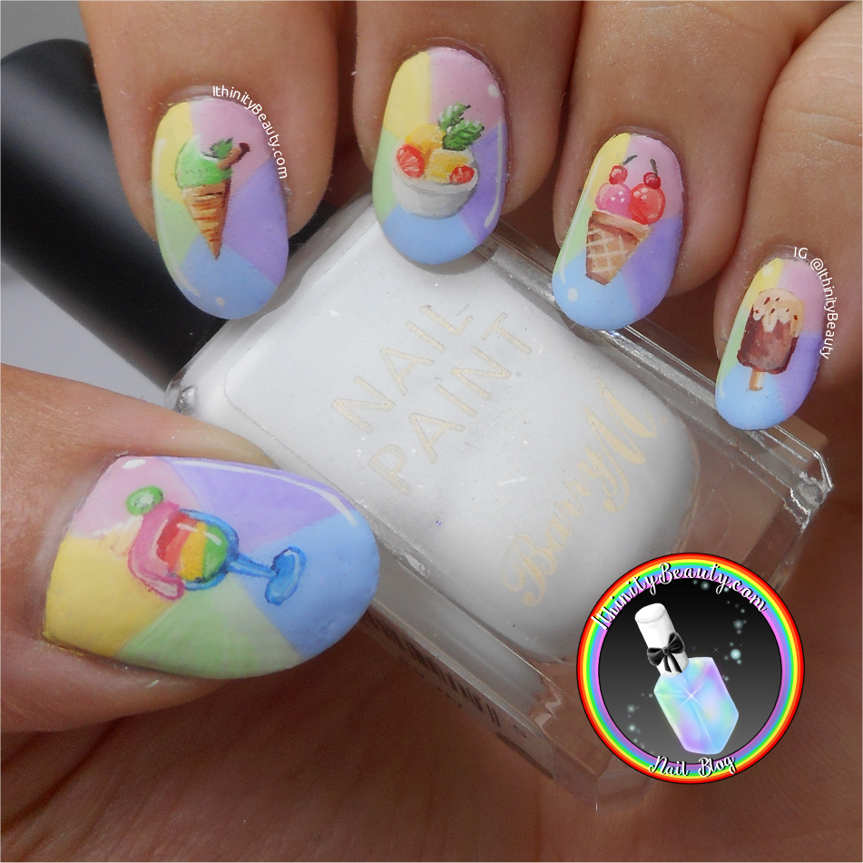 Freehand Fancy Summer Ice Cream Nail Art On Pastel\'s ...