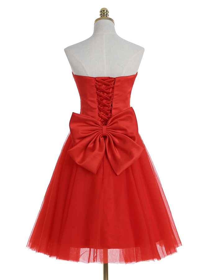 Sexy Ball Gown Sweetheart Knee Length Red Prom/Homecoming Dress with Ruched
