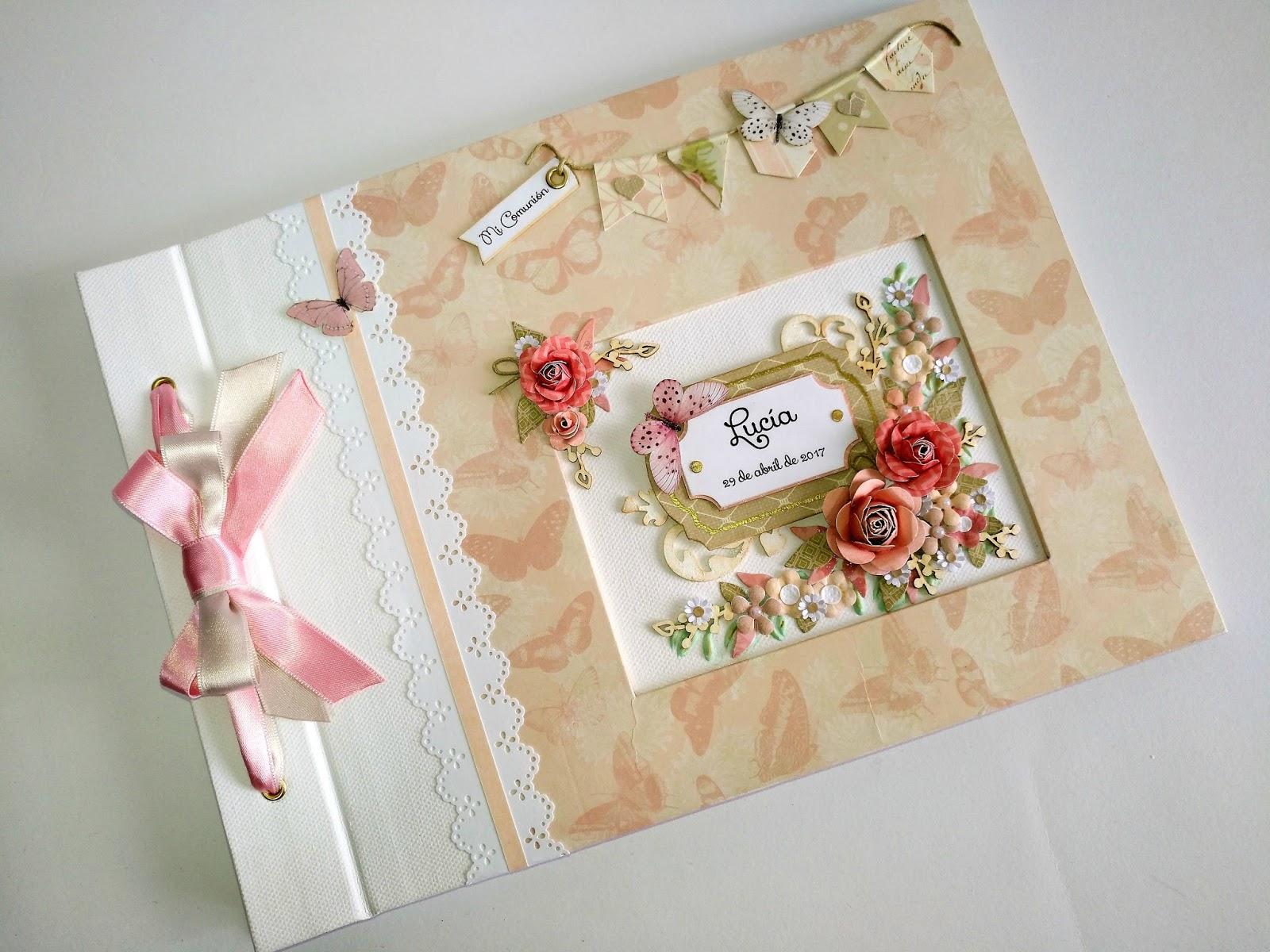 Libro de firmas para primera comuni n floral lluna nova for Interior libro de firmas comunion