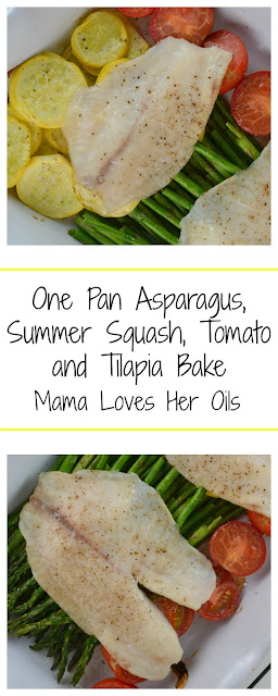 A delicious and healthy 30 minute meal! This meal is packed with lemon and dill flavor and is so easy! One Pan Asparagus, Summer Squash, Tomato and Tilapia Bake from Mama Loves Her Oils