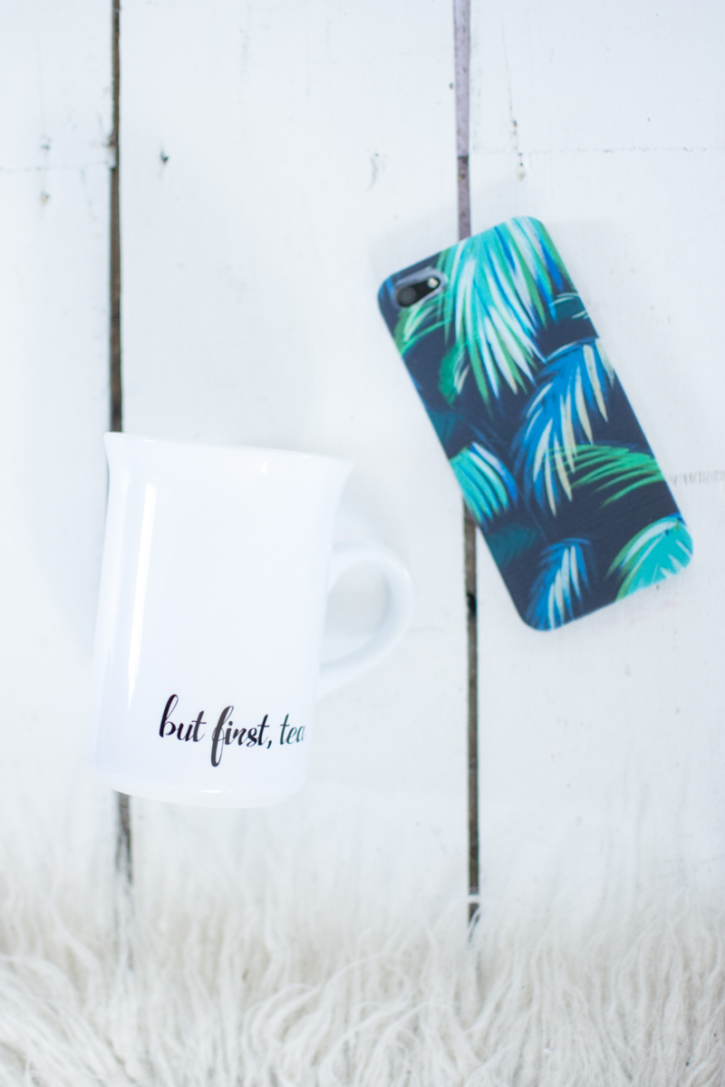 personalised mug but first tea palm leaves phone case nutcase review fashion blogger