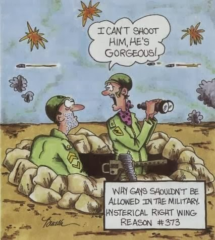 Funny Gay Military Army Soldier Cartoon Picture - I can't shoot him, he's gorgeous.  Why gays shouldn't be allowed in the military.  Hysterical right wing reasons