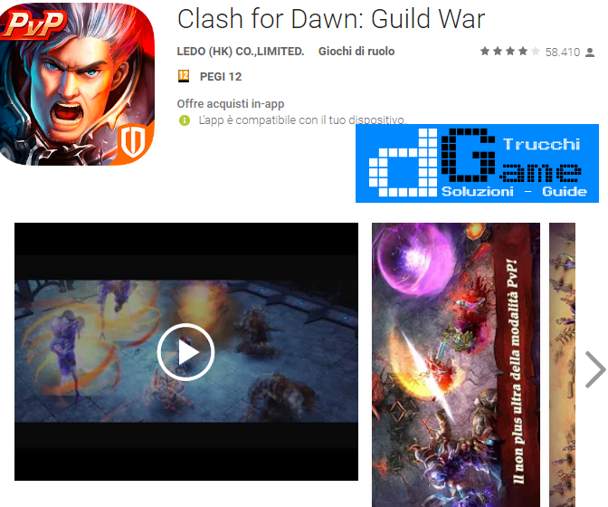 Trucchi Clash for Dawn: Guild War Mod Apk Android v1.0.221