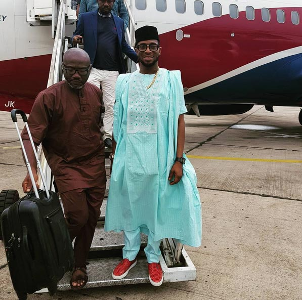 Hit or miss? D'banj rocks blue agbada with red sneakers