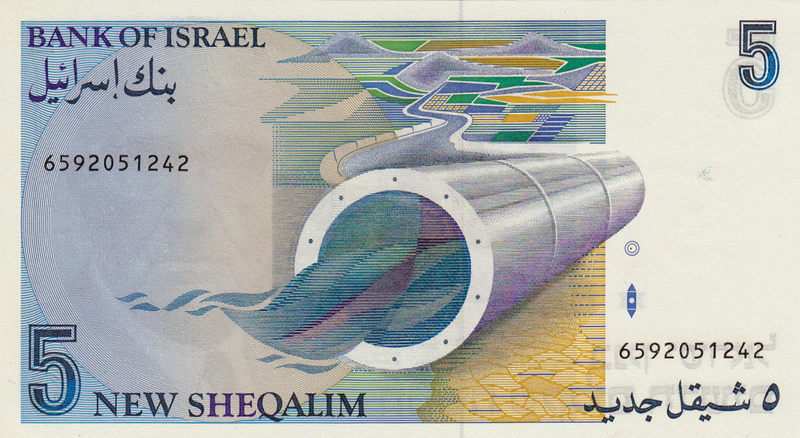 Israeli currency 5 New Shekels banknote 1987 Bank of Israel
