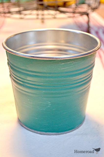 Painted shiny buckets for classroom organizers