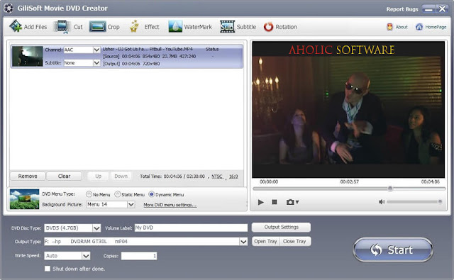 GiliSoft Movie DVD Creator burn your videos to DVDs, and also allows you to convert the videos to DVDs.