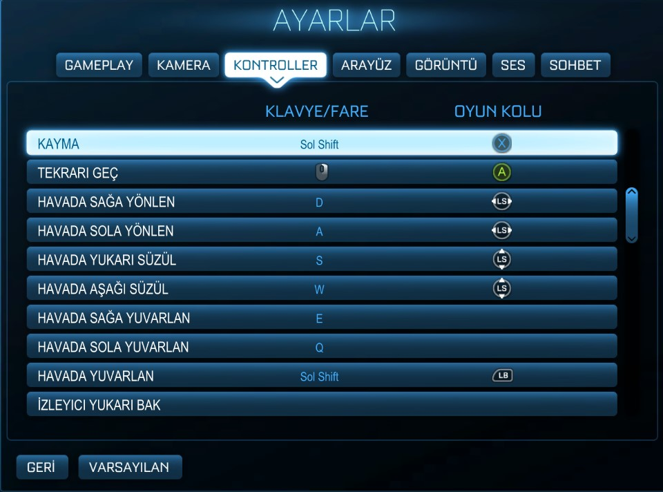 Rocket League kol ayarları-gamepad