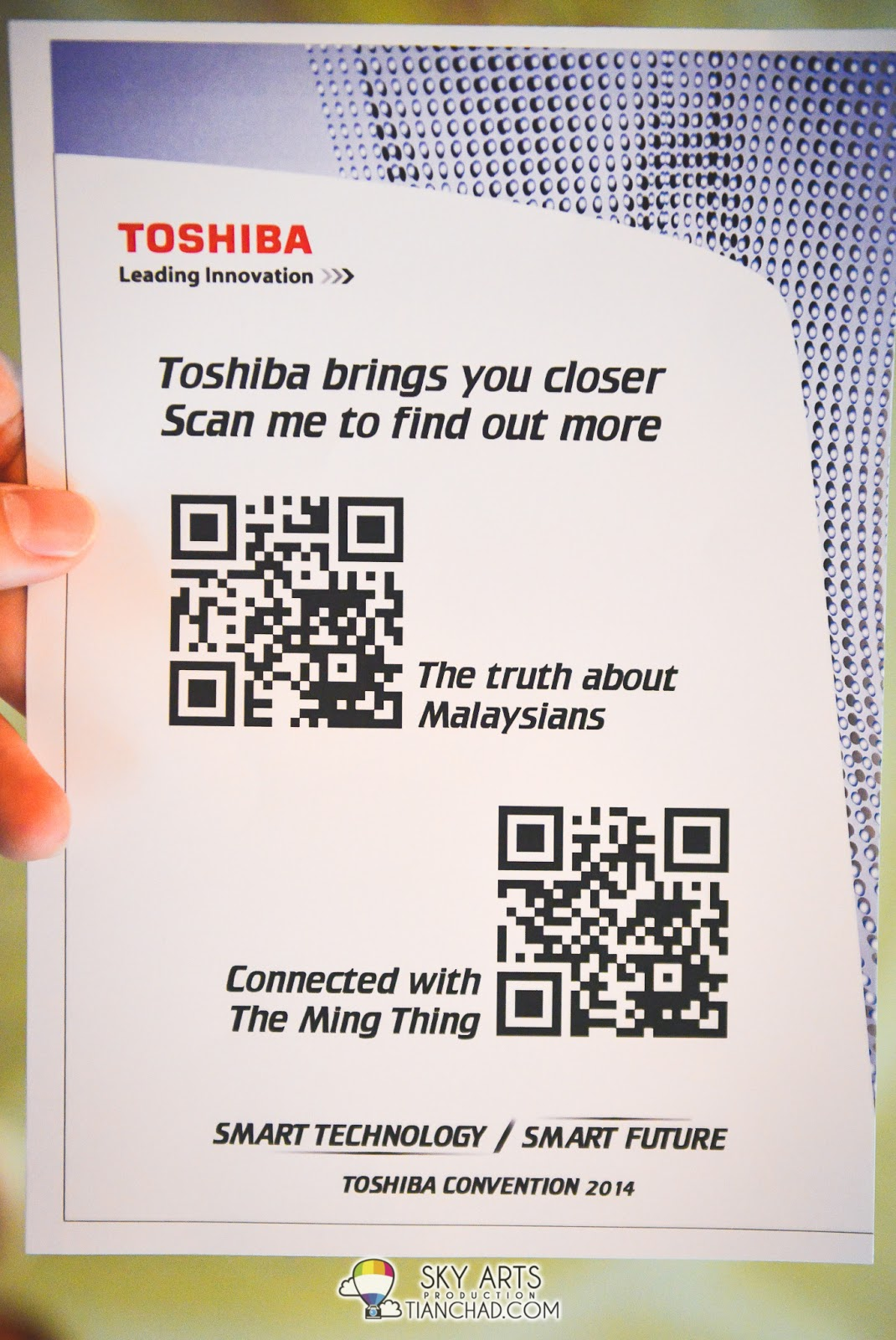 "Scan these two QR Code for Toshiba Smart Technology, Smart Future videos. ""The Truth about Malaysians"" and ""Connected with The Ming Thing"""