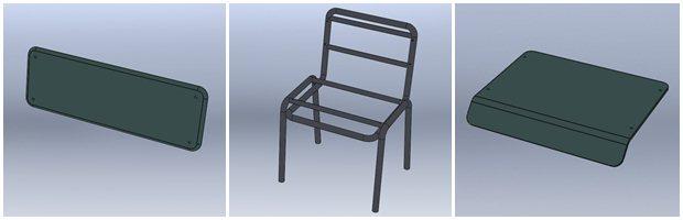 Componentes de la silla: respaldo, estructura y asiento