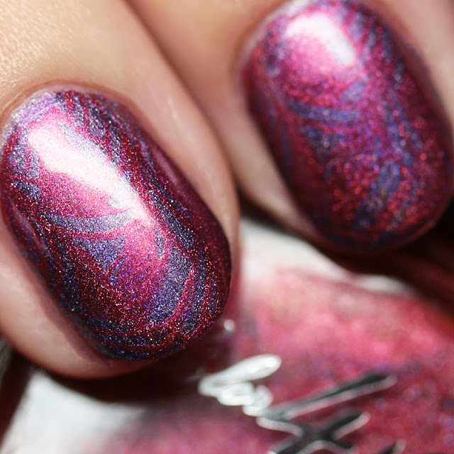 Cosmetics Poppy stamped over Celestial Cosmetics Orchid using MoYou London Suki Collection - 04