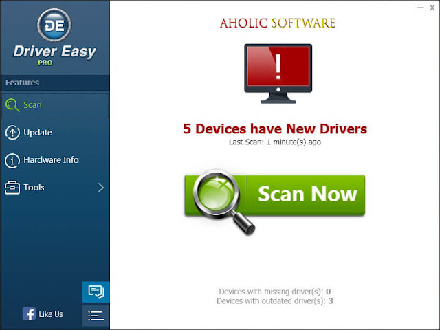 DriverEasy is the best program to update all your missing drivers with just one click.