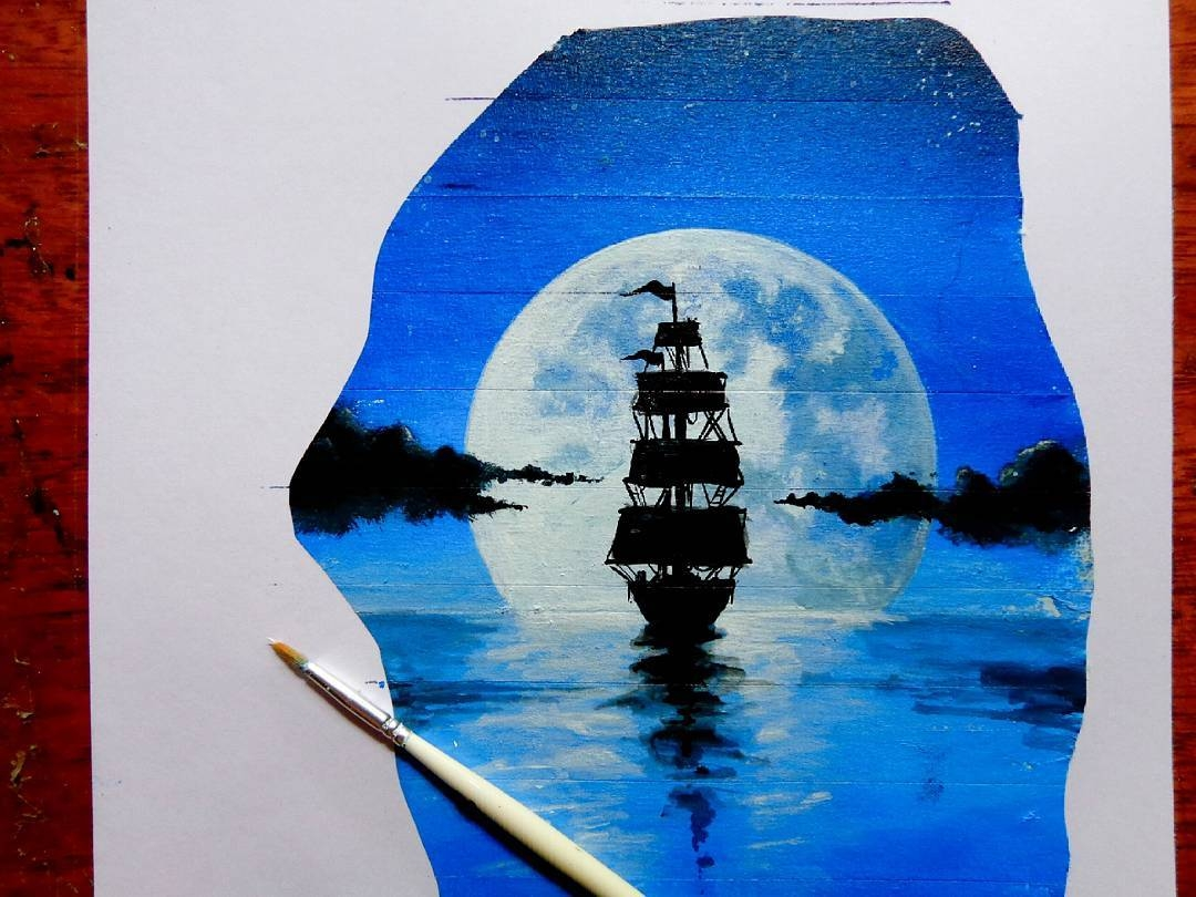 03-Moonlit-Ship-at-Sea-wip-João-A-Carvalho-Drawing-and-Painting-3D-Optical-Illusions-see-the-Video-www-designstack-co
