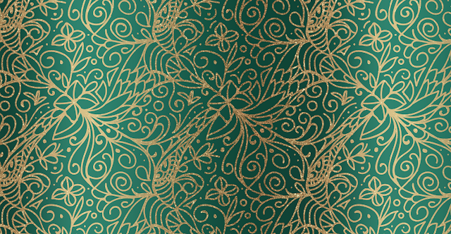 Green and Gold Tangles Pattern