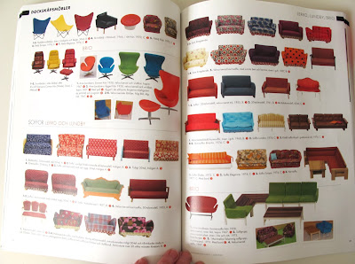 Internal pages of the magazine Retro Klassiker Leksaker Design i Dockskåpet, showing a selection of  vintage dolls' house chairs and sofas by Lerro, Lundby and Brio.